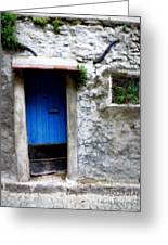 Blue Door  On Rustic House Greeting Card by Lainie Wrightson