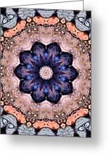 Blue Flora Mandala Greeting Card by Kristin Elmquist