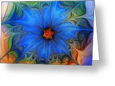 Blue Flower Dressed For Summer Greeting Card by Karin Kuhlmann