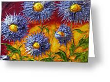 Blue Flowers Greeting Card by Paris Wyatt Llanso