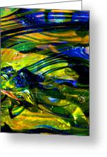 Blue Green Glass Macro Greeting Card by David Patterson