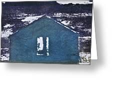 Blue House Greeting Card by Deborah Talbot - Kostisin