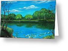 Blue Lake Greeting Card by Anastasiya Malakhova
