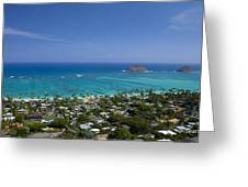 Blue Lanikai Overview Greeting Card by Sean Davey