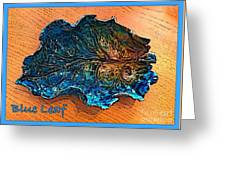 Blue Leaf Ceramic Design 2 Greeting Card by Joan-Violet Stretch
