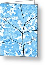 Blue Leaves Melody Greeting Card by Jennie Marie Schell