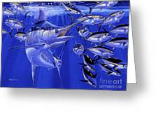 Blue Marlin Round Up Off0031 Greeting Card by Carey Chen