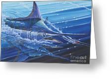 Blue Marlin Strike Off0053 Greeting Card by Carey Chen