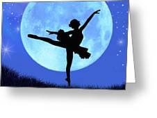 Blue Moon Ballerina Greeting Card by Alixandra Mullins