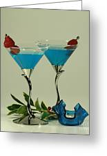 Blue Moon Curacao Cocktails For Two Greeting Card by Inspired Nature Photography By Shelley Myke