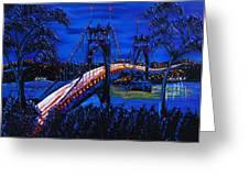 Blue Night Of St. Johns Bridge 12 Greeting Card by James Dunbar