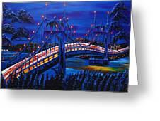 Blue Night Of St. Johns Bridge #14 Greeting Card by James Dunbar