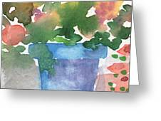 Blue Pot Of Flowers Greeting Card by Linda Woods