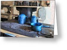 Blue Pots On Stove Greeting Card by Susan Savad