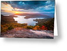 Blue Ridge Mountains Sunset - Lake Jocassee Gold Greeting Card by Dave Allen