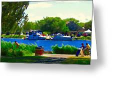 Blue Skies Boats And Bikes Montreal Summer Scene The Lachine Canal Seascape Art Carole Spandau Greeting Card by Carole Spandau