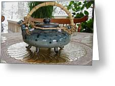 Blue Teapot Greeting Card by Beth Gramith