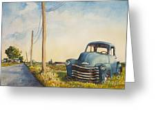 Blue Truck North Fork Greeting Card by Susan Herbst