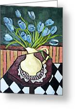 Blue Tulips On Octagon Table Greeting Card by Anthony Falbo