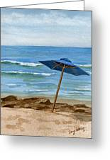 Blue Umbrella Greeting Card by Nancy Patterson