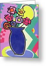 Blue Vase Greeting Card by Bodel Rikys