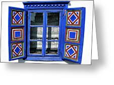 Blue Window Handmade Greeting Card by Daliana Pacuraru