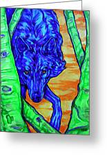 Blue Wolf Greeting Card by Derrick Higgins
