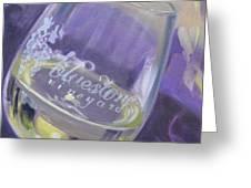 Bluestone Vineyard Wineglass Greeting Card by Donna Tuten