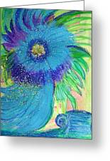 Bluesy Floral With Cup Greeting Card by Anne-Elizabeth Whiteway