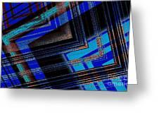 Bluish Geometric Design Greeting Card by Mario  Perez
