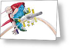 Bmx Drawing Peg Grind Greeting Card by Mike Jory