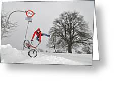 Bmx Flatland In The Snow - Monika Hinz Jumping Greeting Card by Matthias Hauser