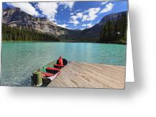 Boat Docked On Emerald Lake Greeting Card by George Oze