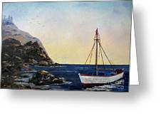 Boat In Maine Greeting Card by Lee Piper