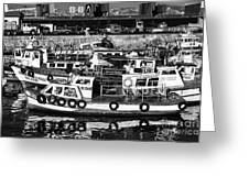 Boat Reflections In Valparaiso Greeting Card by John Rizzuto