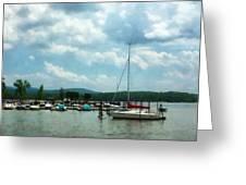 Boat - Sailboat At Dock Cold Springs Ny Greeting Card by Susan Savad