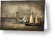 Boat - Sailing - Govenors Island Ny - Clipper City Greeting Card by Mike Savad