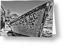 Boat - State Of Decay In Black And White Greeting Card by Paul Ward