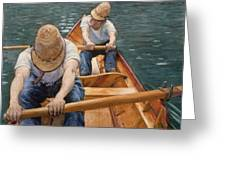 Boaters Rowing On The Yerres Greeting Card by Gustave Caillebotte