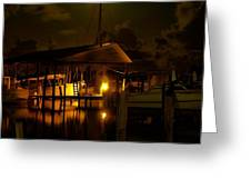 Boathouse Night Glow Greeting Card by Michael Thomas
