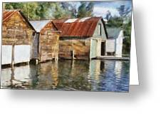 Boathouses On The Torch River Ll Greeting Card by Michelle Calkins