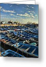 Boats In Essaouira Morocco Harbor Greeting Card by David Smith