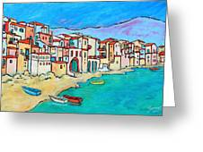Boats In Front Of Buildings VIII Greeting Card by Xueling Zou