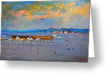 Boats In Piermont Harbor Ny Greeting Card by Ylli Haruni