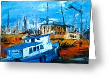Boatyard Greeting Card by Amir