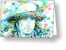 Bob Dylan - Watercolor Portrait.2 Greeting Card by Fabrizio Cassetta