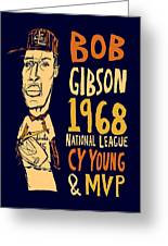 Bob Gibson St Louis Cardinals Greeting Card by Jay Perkins