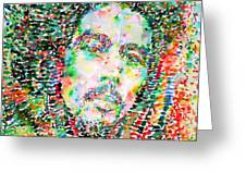 Bob Marley Watercolor Portrait.3 Greeting Card by Fabrizio Cassetta