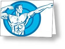Bodybuilder Flexing Muscles Pointing Side Retro Greeting Card by Aloysius Patrimonio