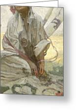Bohemian Sun Dreamer Greeting Card by Alphonse Marie Mucha